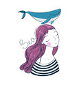 Beautiful young girl sailor with a whale. Royalty Free Stock Photo