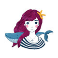 Beautiful young girl sailor with a whale and star in her hair. Royalty Free Stock Photo