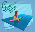 Beautiful young girl surfer character sitting on a board in the sea. Vector illustration.