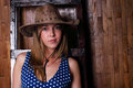 Beautiful young girl wearing cowboy hat Royalty Free Stock Photo