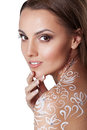 Beautiful young glamour woman with fantasy flower body art soft perfect skin smiling model face Stock Photography