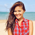 Beautiful young happy woman smiling close up Royalty Free Stock Photo