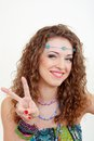 Beautiful young hippie woman smiling Royalty Free Stock Photo