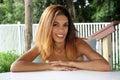 Beautiful Young Hispanic Woman Outdoors Royalty Free Stock Photo