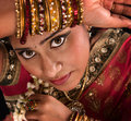Beautiful young indian woman close up face of in traditional sari dress Stock Image
