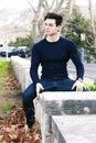 Beautiful young man model autumn / winter