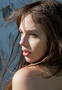 Beautiful Young Model With Hair Blowing in Wind Stock Images