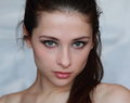 Beautiful young naked green eyes woman Royalty Free Stock Image
