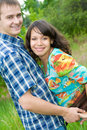 Beautiful young pregnant woman with husband Stock Photo