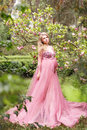 Beautiful young pregnant woman in a long sexy pink dress standing near a blooming magnolia in nature Royalty Free Stock Photo