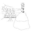 Beautiful young princess in front of her castle doodle illustration Royalty Free Stock Photography