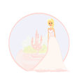 Beautiful young princess in front of her castle illustration Stock Images