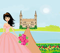 Beautiful young princess in front of her castle illustration Royalty Free Stock Images