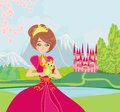 Beautiful young princess holding a big frog illustration Royalty Free Stock Photos