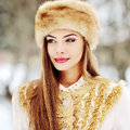 Beautiful young russian woman winter portrait - close up Royalty Free Stock Photo