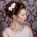 Beautiful young sweet girl with large red lips in wedding white wreath on the head Royalty Free Stock Photo
