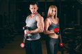 Beautiful young sporty couple showing muscle and workout in gym dumbbell Royalty Free Stock Photo