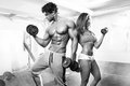 Beautiful young sporty sexy couple workout in gym Royalty Free Stock Photo