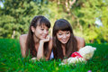 Beautiful young twins sisters in a summer green park Royalty Free Stock Photography
