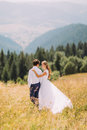 Beautiful young wedding couple walking on sunny field with magnificent forest hills as background. Back view Royalty Free Stock Photo