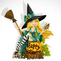 Beautiful young witch with a book and broom Stock Photography