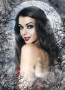 Beautiful young woman as sexy vampire in red dress halloween portrait Royalty Free Stock Photos