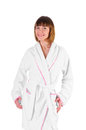 Beautiful young woman in a bathrobe Stock Photography