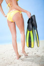 Beautiful young woman in bikini with snorkel Royalty Free Stock Photography