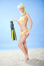 Beautiful young woman in bikini with snorkel Stock Image