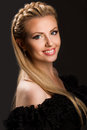 Beautiful young woman blonde in black dress Royalty Free Stock Photos