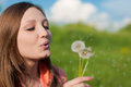 Beautiful young woman blowing dandelion flowers Stock Photo