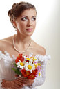 Beautiful young woman with bouquet Royalty Free Stock Photography