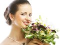 Beautiful young woman with bouquet flowers portrait of happy smiling Stock Photos