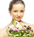 Beautiful young woman with bouquet flowers portrait of happy smiling Stock Images