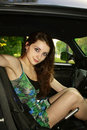 Beautiful young woman in the car Royalty Free Stock Photography