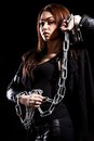 Beautiful young woman with chains Royalty Free Stock Photo