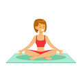 Beautiful young woman character sitting and meditating in the yoga lotus position vector Illustration Royalty Free Stock Photo