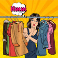 Beautiful Young Woman Choosing Clothes in her Wardrobe. Pop Art. Vector