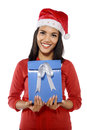Beautiful young woman with christmas present isolated on white background Royalty Free Stock Photography