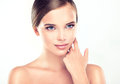 Beautiful young woman with clean fresh skin close up Stock Photo