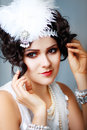 Beautiful young woman close up portrait retro flapper style headband vogue style vintage Stock Image