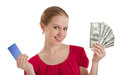 Beautiful young woman, credit card, cash money, Royalty Free Stock Image