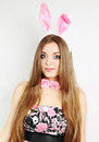 Beautiful young woman dressed rabbit ears Royalty Free Stock Photo