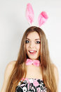 Beautiful young woman dressed rabbit ears Stock Images