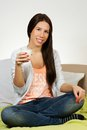 Beautiful young woman drinking milk Royalty Free Stock Photo
