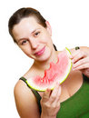 Beautiful young woman eat juicy watermelon Royalty Free Stock Photos