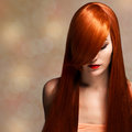 Beautiful young woman with elegant long shiny hair closeup portrait of a Stock Photo