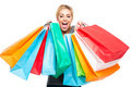 Beautiful Young Woman Excited with Shopping Bags Stock Images