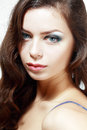Beautiful young woman face of a with brightl perfect make up eyes closed Royalty Free Stock Photos