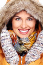 Beautiful young woman face winter clothing Royalty Free Stock Image
